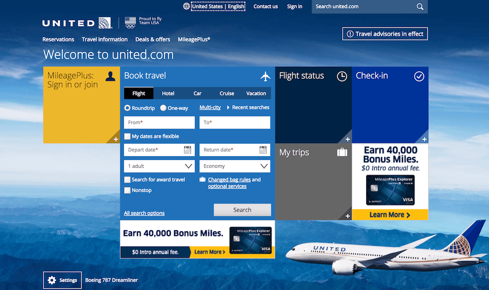 Screenshot showing United Airlines' website homepage